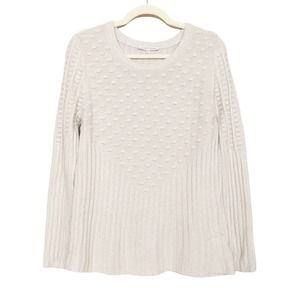 41 HAWTHORN Beige Poppi Textured Ribbed Sweater L
